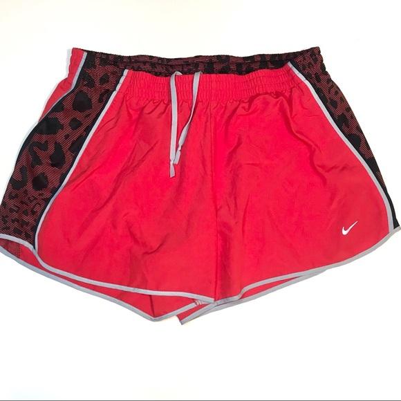NIKE red black leopard print shorts cheetah print